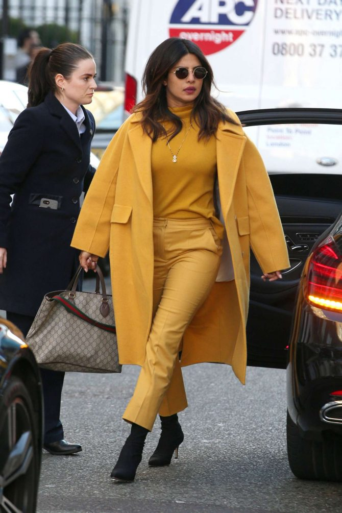 Priyanka Chopra in Yellow Outfit – Out in London