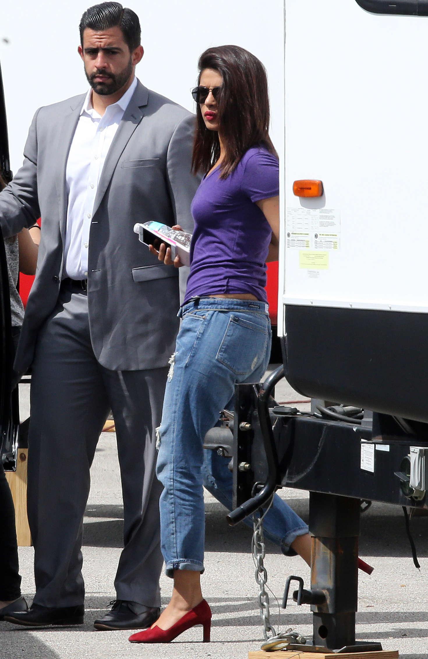 Priyanka Chopra on Set to Film 'Baywatch' in Miami