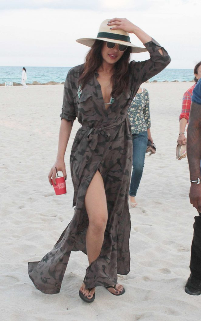 Priyanka Chopra on the beach with friends in Miami