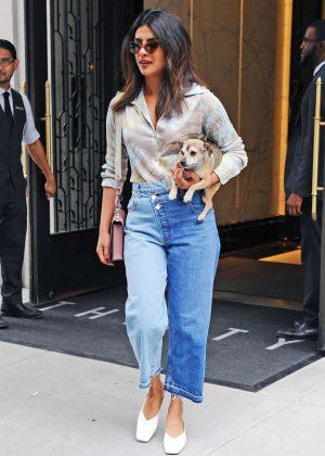 Priyanka Chopra - Out with her dog in New York