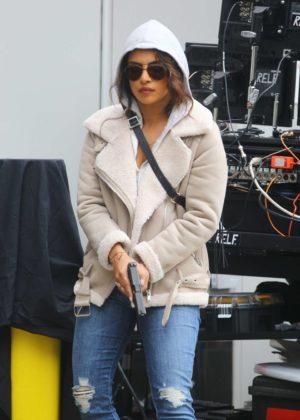 Priyanka Chopra - Shoots action scenes for 'Quantico' in NYC
