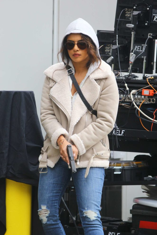 Priyanka Chopra - Shoots action scenes for 'Quantico' in NYC