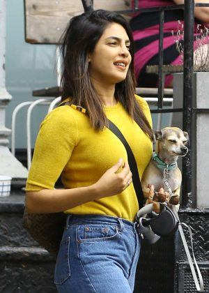 Priyanka Chopra with her dog - Out in New York City