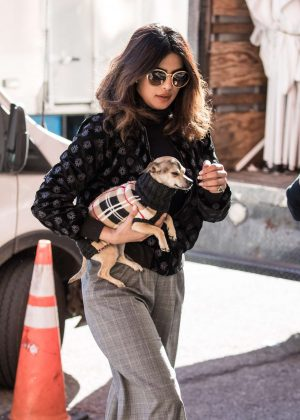 Priyanka Chopra with her pup Diana out in NYC