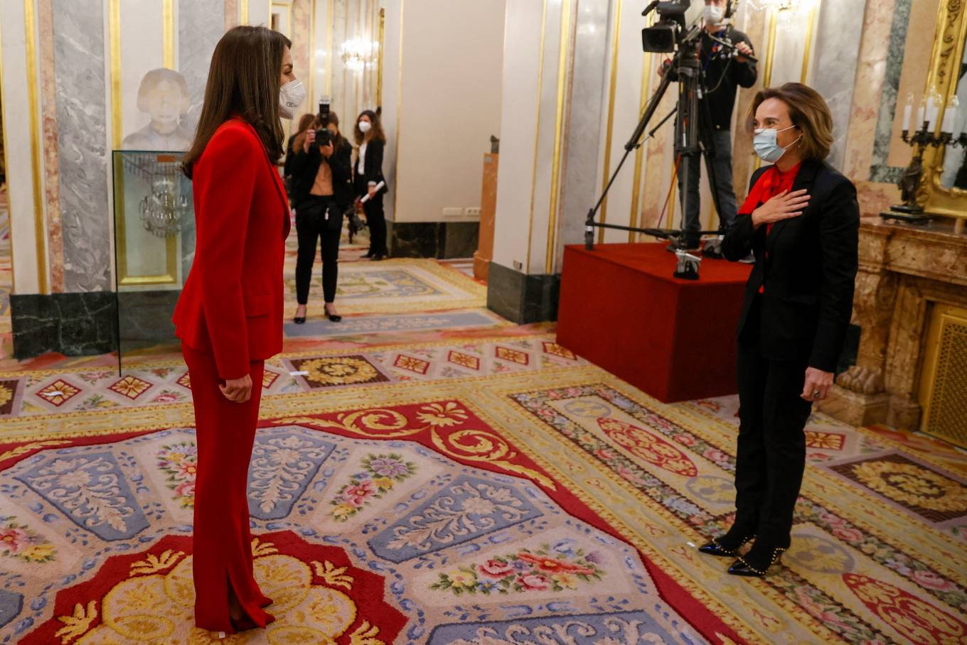 Queen Letizia Of Spain 2021 : Queen Letizia of Spain – In all red attends the tribute to the figure of Clara Campoamor in Madrid-07