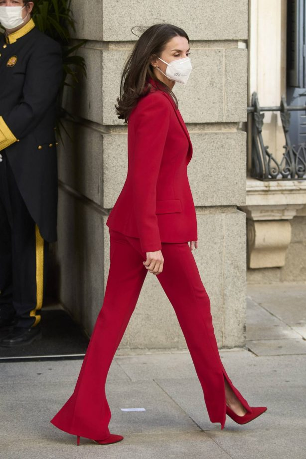 Queen Letizia of Spain - In all red attends the tribute to the figure of Clara Campoamor in Madrid