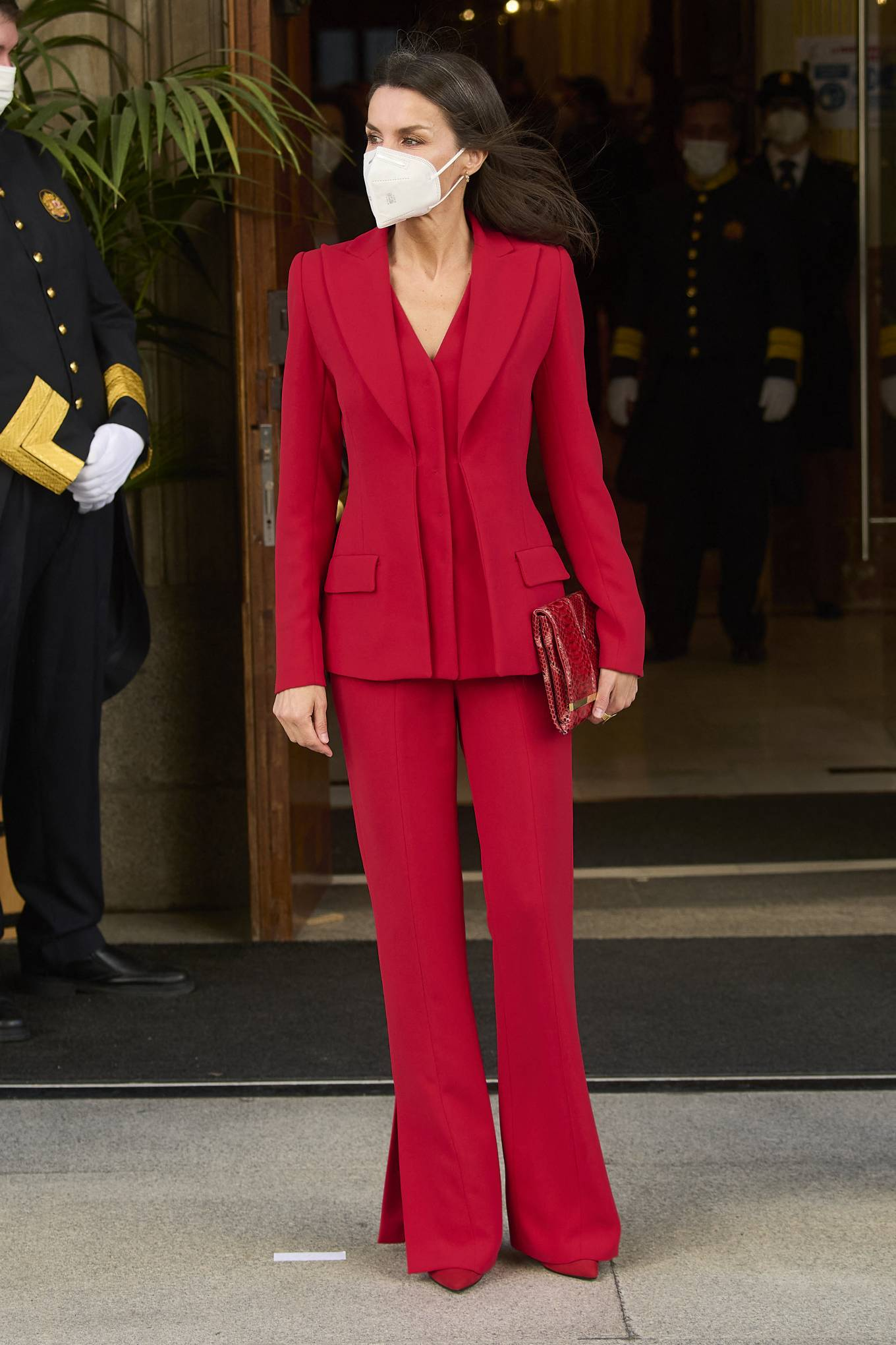 Queen Letizia Of Spain 2021 : Queen Letizia of Spain – In all red attends the tribute to the figure of Clara Campoamor in Madrid-17