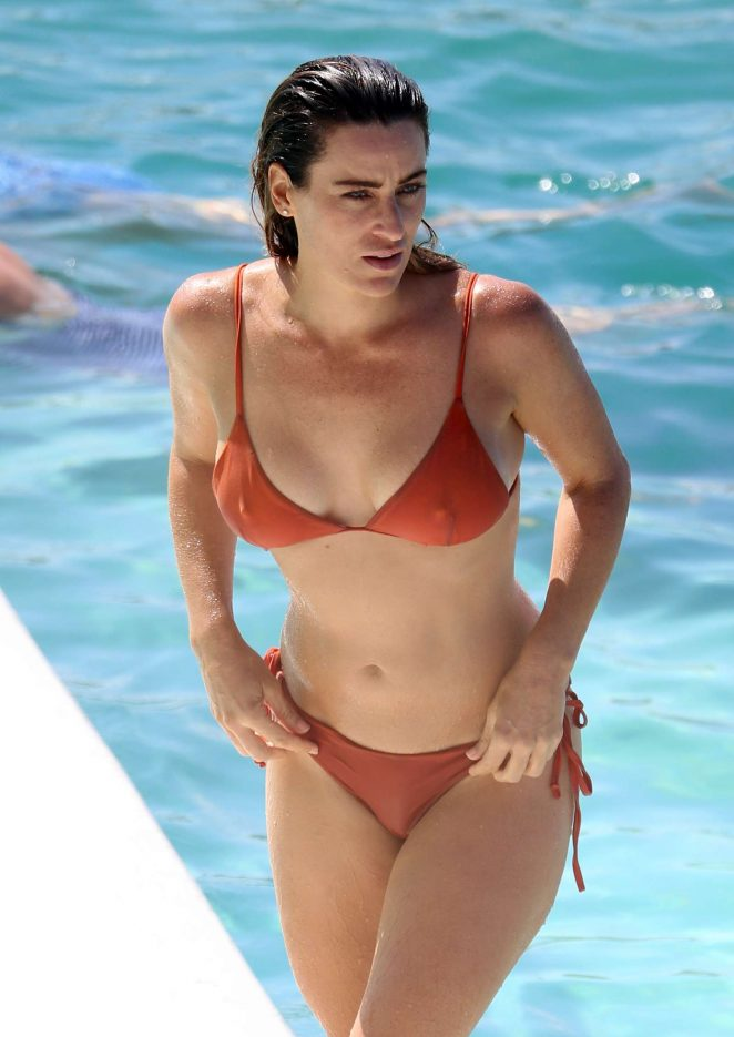 Rachael gouvignon in orange bikini in sydney for Pool show sydney