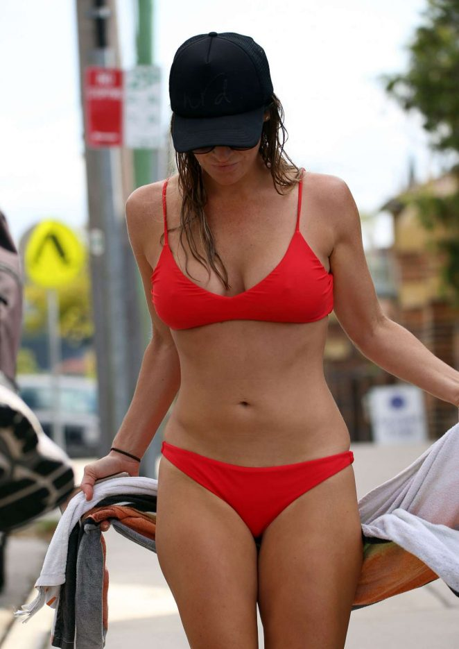 Rachael Gouvignon in Red Bikini on the beach in Coogee