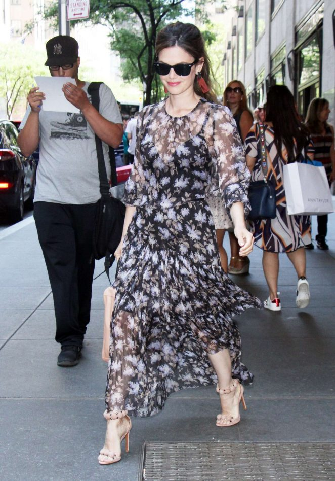 Rachel Bilson in a floral print dress at Today Show in New York