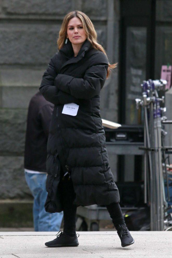 Rachel Bilson in Black Long Jacket out in Vancouver