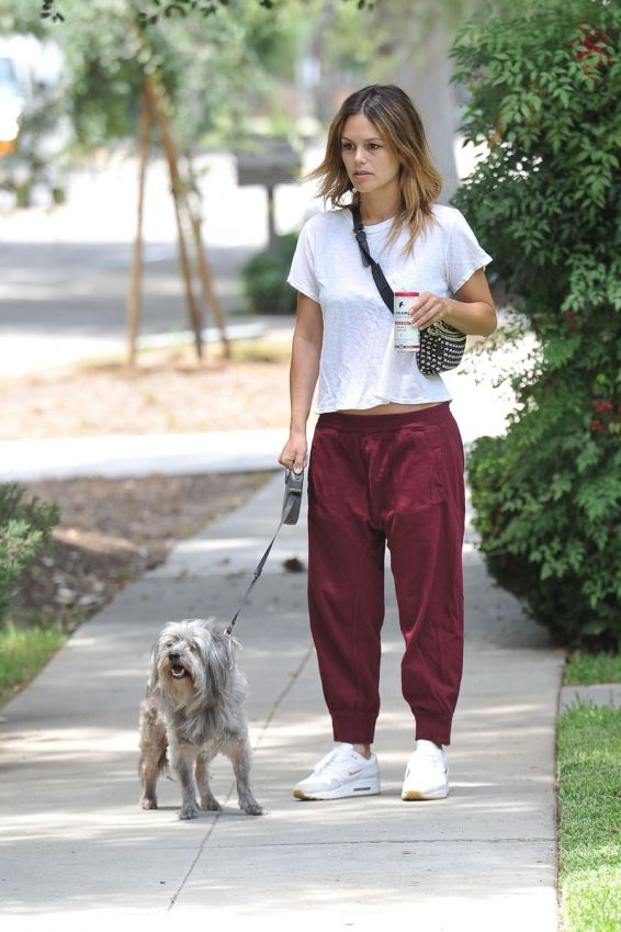 Rachel Bilson - Walking her dog in Los Angeles