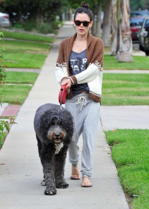 Rachel Bilson walking her dog in Los Angeles