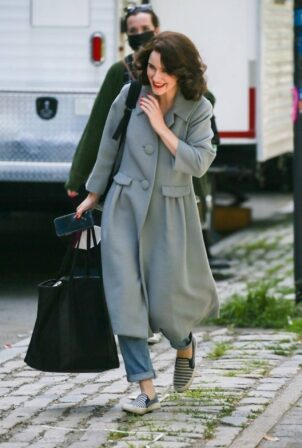 Rachel Brosnahan - is all smiles while leaving set in New York