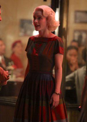 Rachel Brosnahan - On the set of 'The Marvelous Mrs. Maisel' in New York