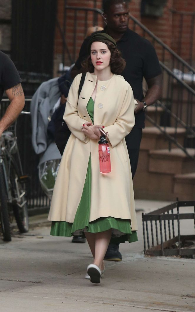 Rachel Brosnahan on the set of 'The Marvelous Mrs. Maisel' in NY