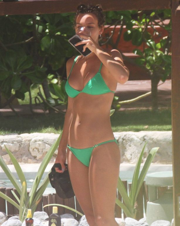 Rachel Cook in Green Bikini at a beach in Tulum