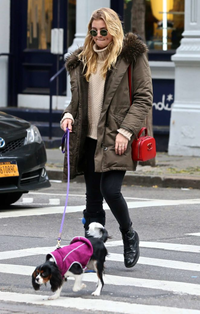 Rachel Hilbert with her dog out in New York City