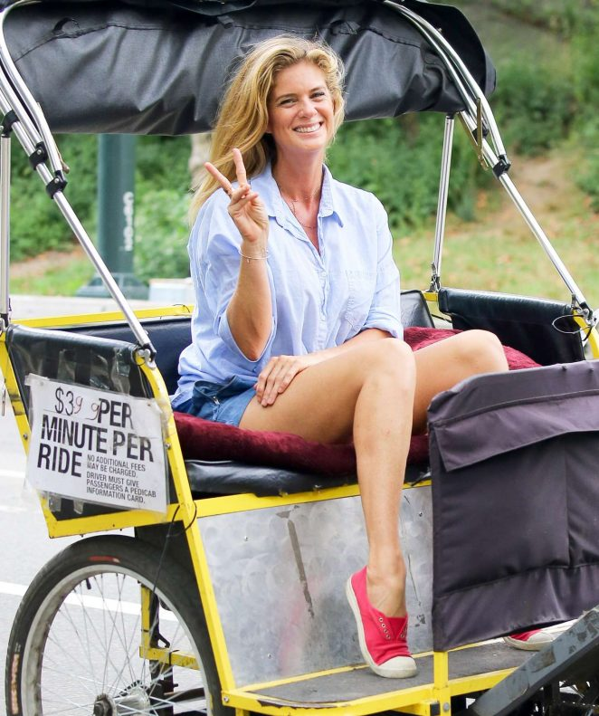 Rachel Hunter filming small project in New York City