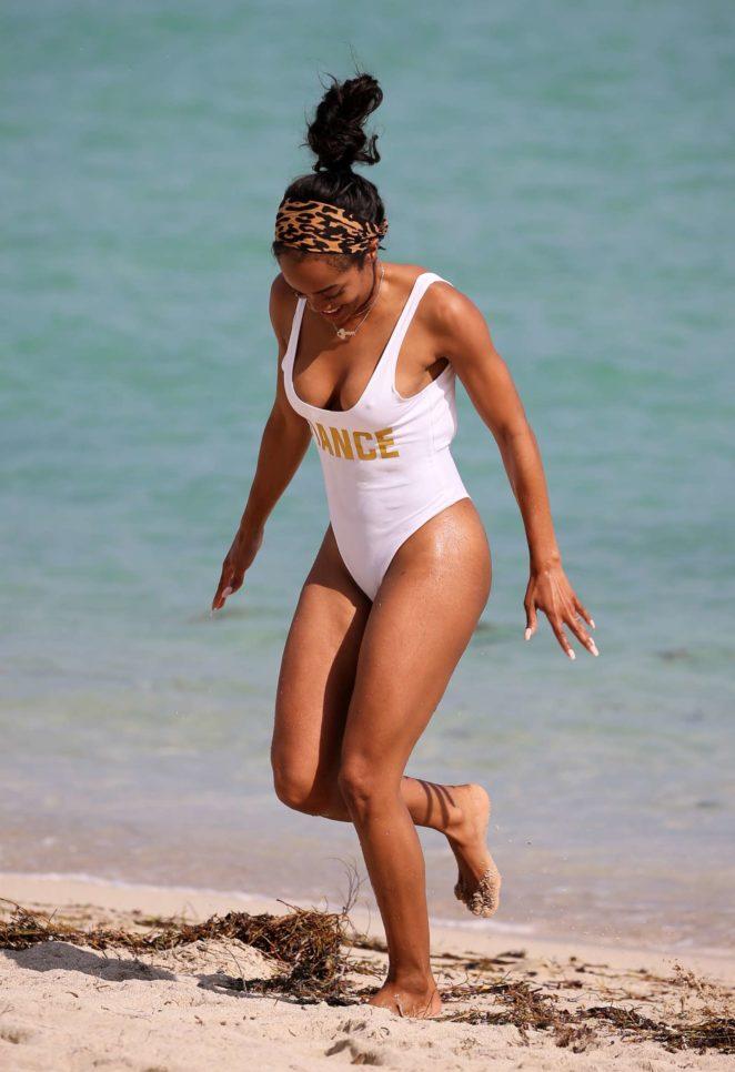 Rachel Lindsay 2017 : Rachel Lindsay in White Swimsuit 2017 -12