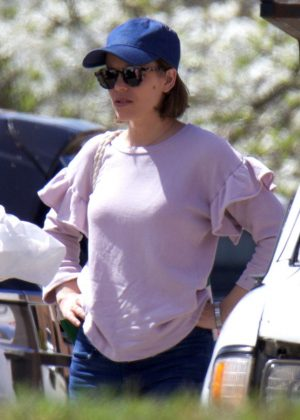 Rachel McAdams arrives on set for 'Game Night' in Atlanta