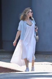 Rachel McAdams in White Long Dress - Visits a coffee shop in LA