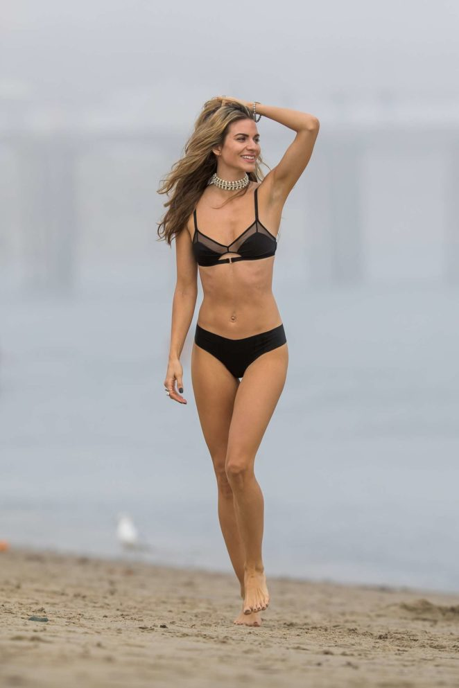 Rachel McCord in Black Bikini at a beach in Malibu