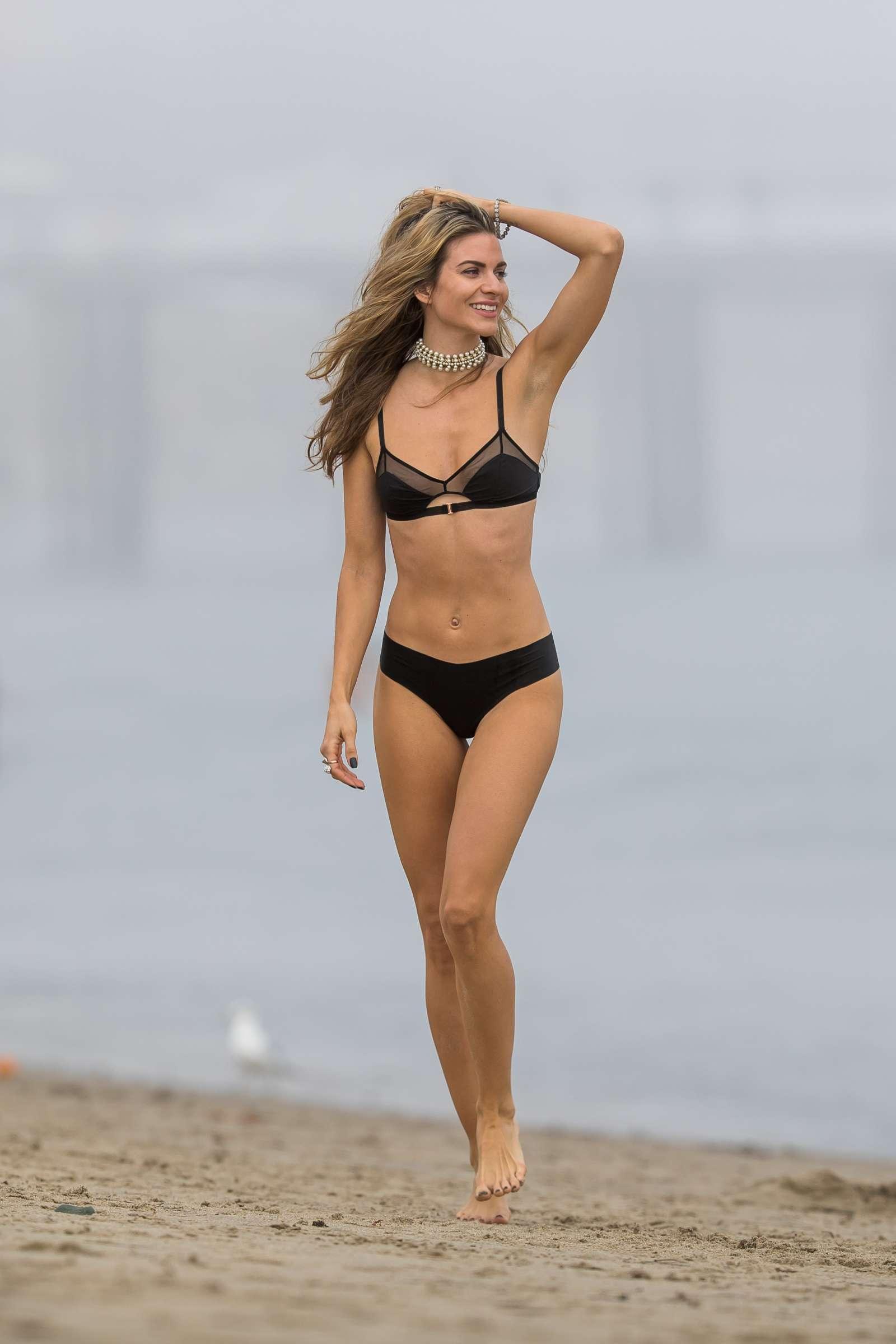 Rachel McCord in Black Bikini at a beach in Malibu