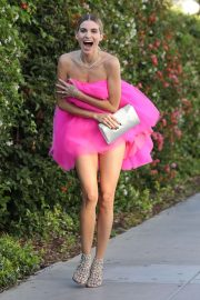 Rachel McCord in Pink Dress - Going to an event in Santa Monica