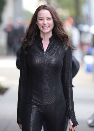 Rachel Nichols in Tights on the set of Continuum in Vancouver