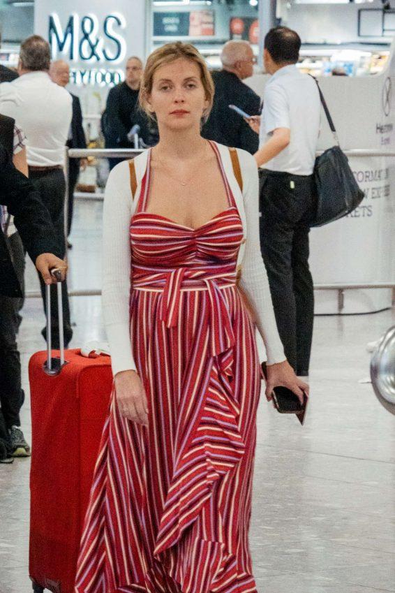 Rachel Riley - Arrives at Heathrow Airport in London