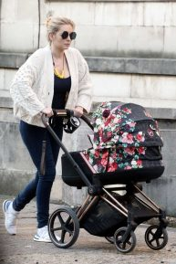 Rachel Riley - Seen with baby daughter Maven Aria in Central London