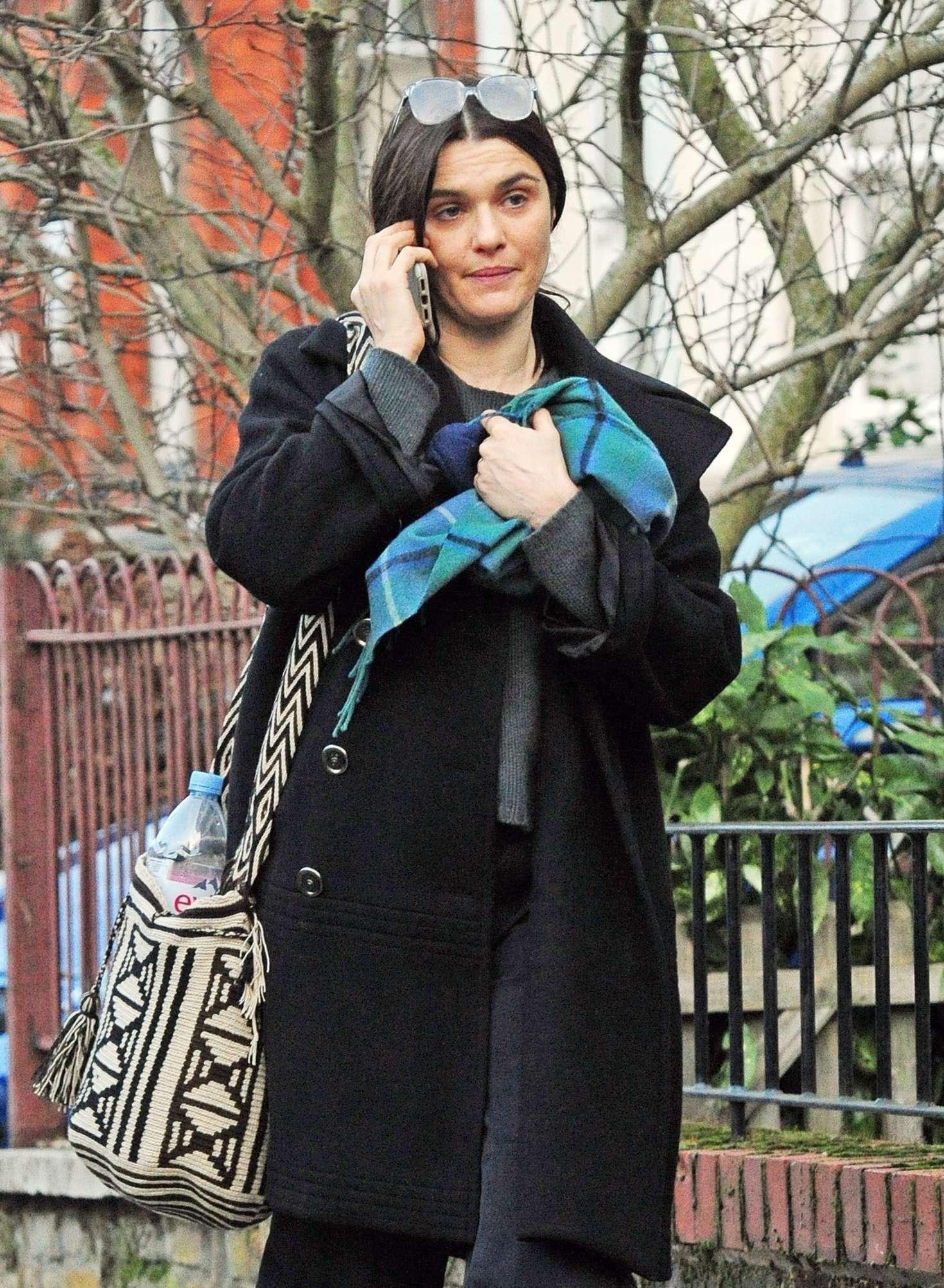 Rachel Weis in Black Coat - Out in London