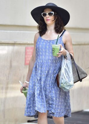 Rachel Weisz in Blue Dress - Out in New York