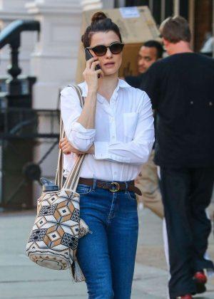 Rachel Weisz in Jeans Out in New York