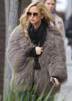 Rachel Zoe in Fur Coat out in Beverly Hills