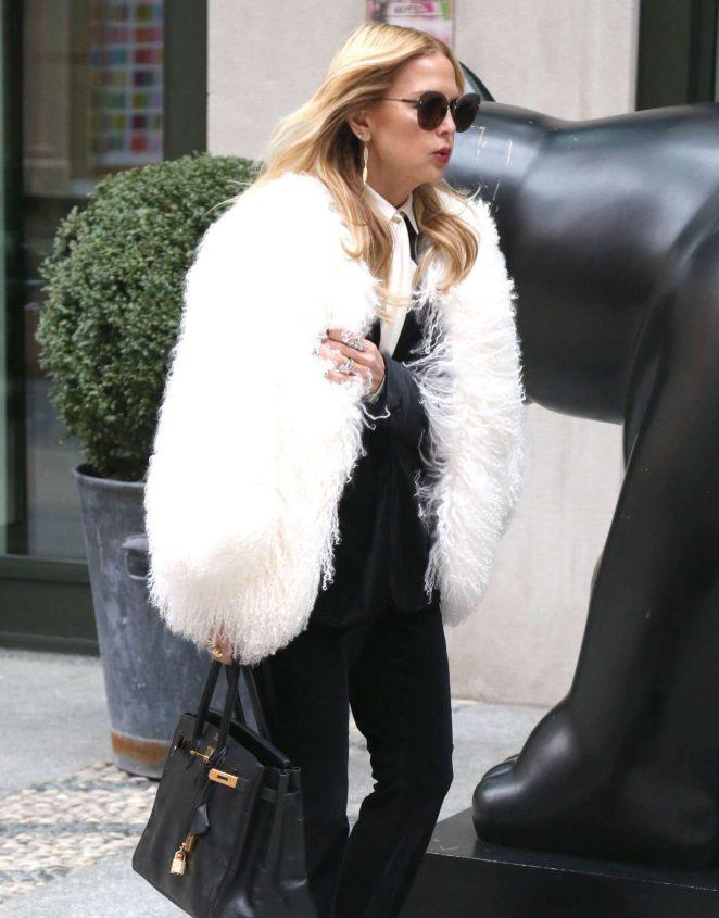 Rachel Zoe in White Fur Coat out in New York City