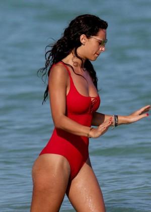 Raffaella Modugno in Red Swimsuit on Miami Beach