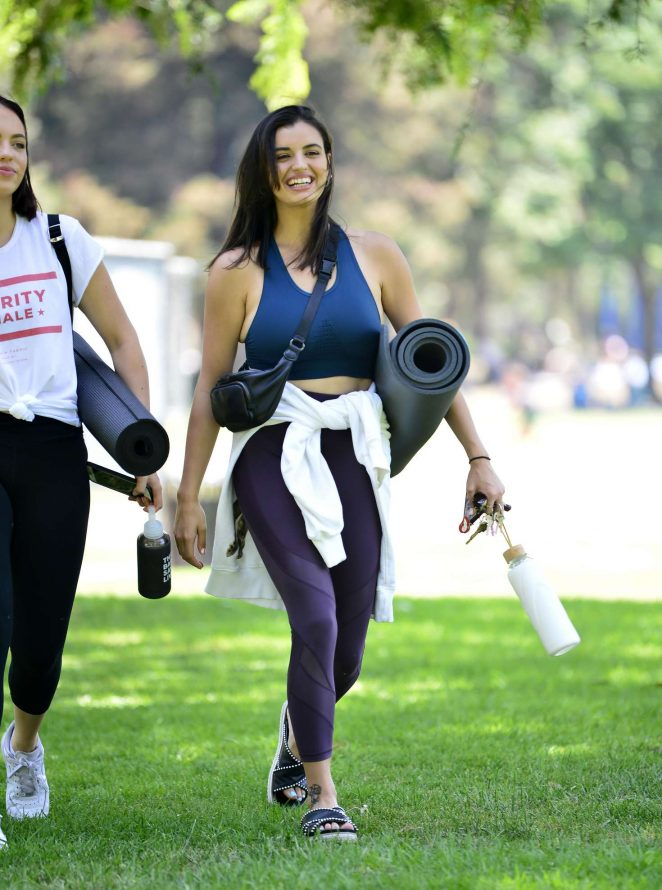 Rebecca Black – Doing yoga at the park in Beverly Hills