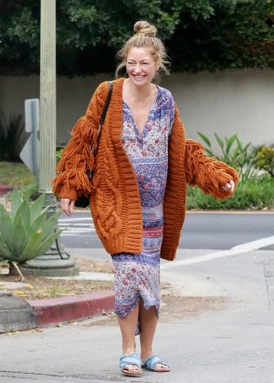 Rebecca Gayheart in Long Dress and Sweater in Los Feliz