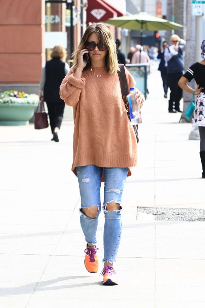 Rebecca Gayheart in Ripped Jeans shopping in Beverly Hills