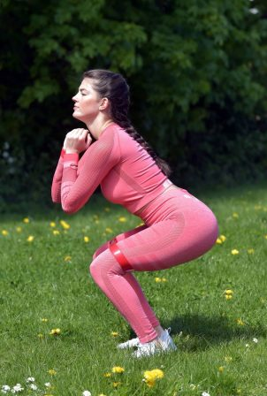 Rebecca Gormley - Exercising in a red two-piece in Newcastle