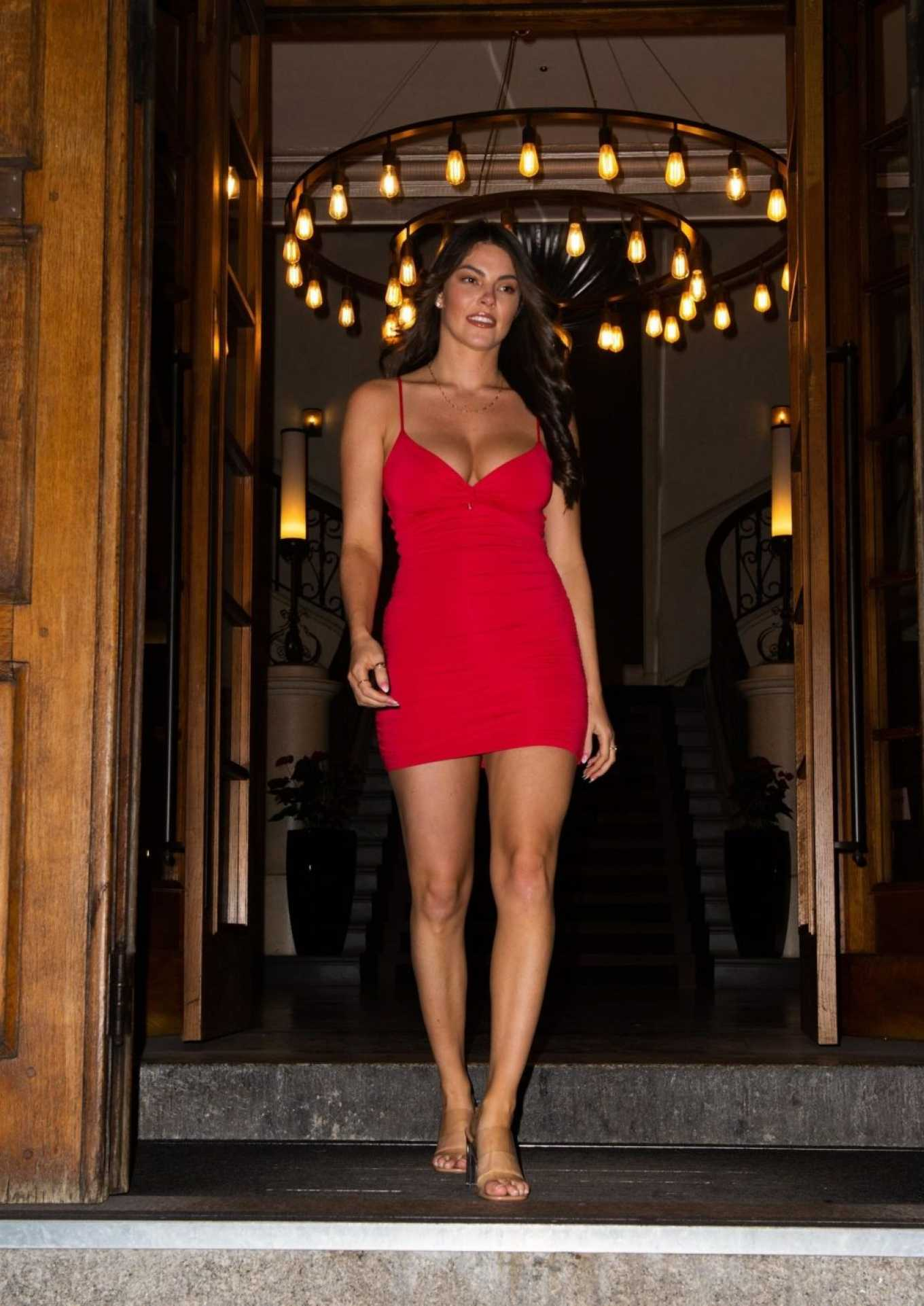 Courthouse Hotel Shoreditch: Rebecca Gormley In Red Mini Dress-01