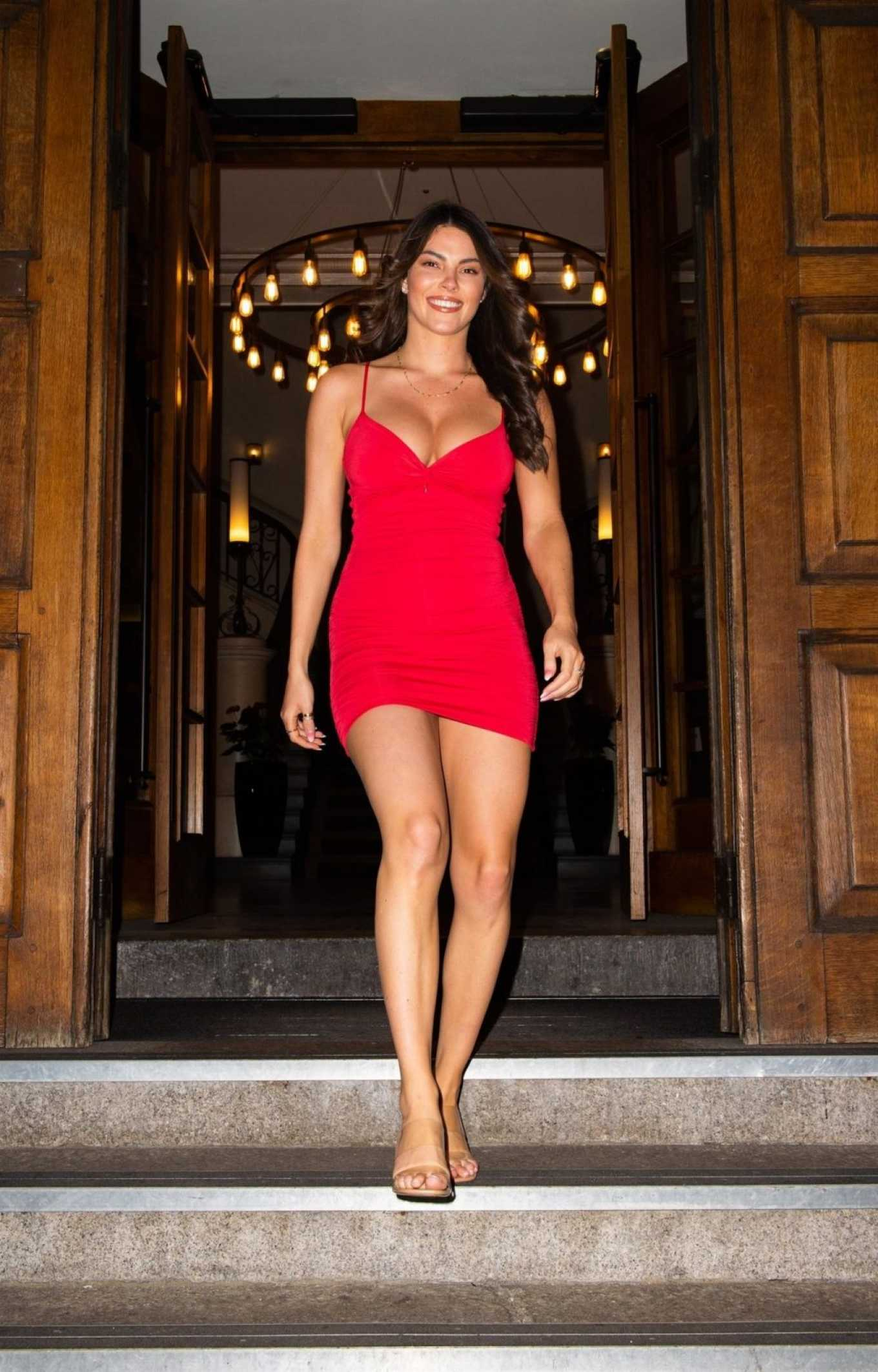 Courthouse Hotel Shoreditch: Rebecca Gormley 2020 : Rebecca Gormley In Red Mini Dress-04