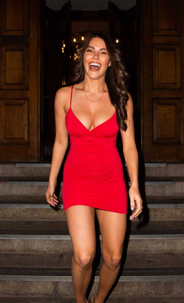 Rebecca Gormley in Red Mini Dress - Leaving the Courthouse Hotel in Shoreditch