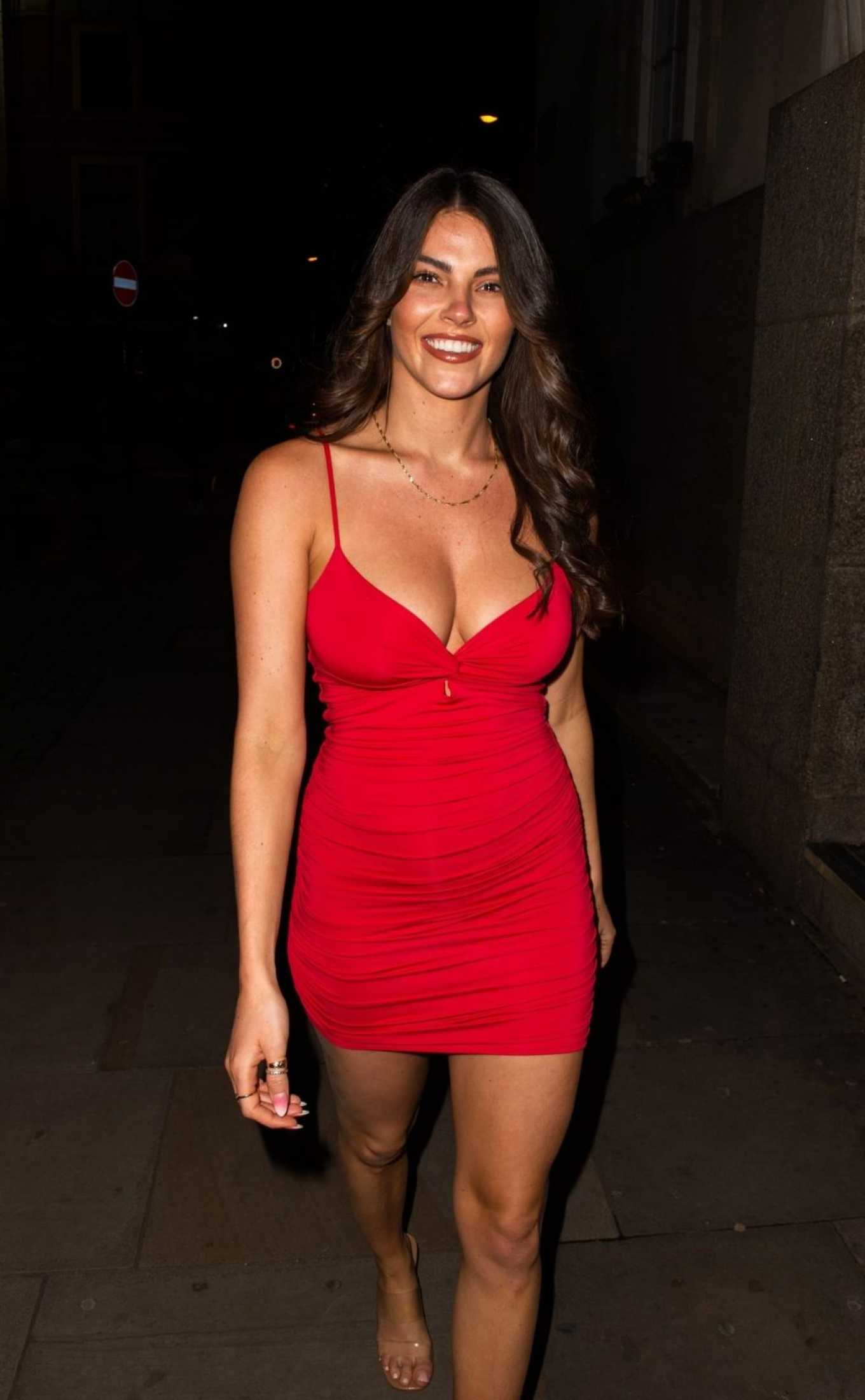Courthouse Hotel Shoreditch: Rebecca Gormley In Red Mini Dress-09