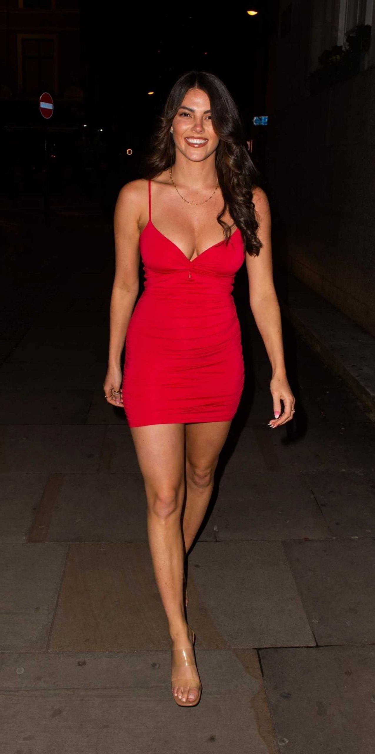 Courthouse Hotel Shoreditch: Rebecca Gormley In Red Mini Dress-11