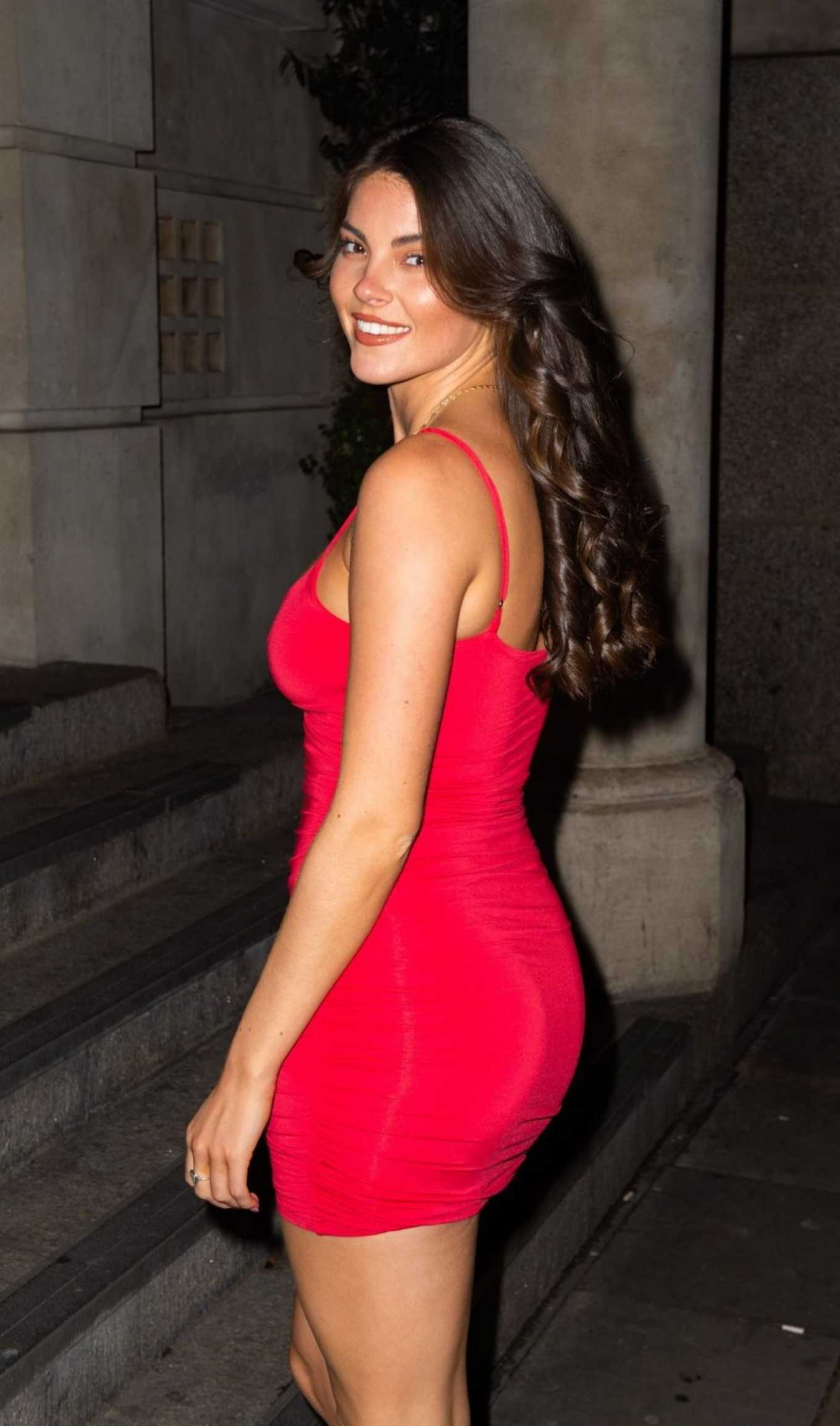 Courthouse Hotel Shoreditch: Rebecca Gormley In Red Mini Dress-14
