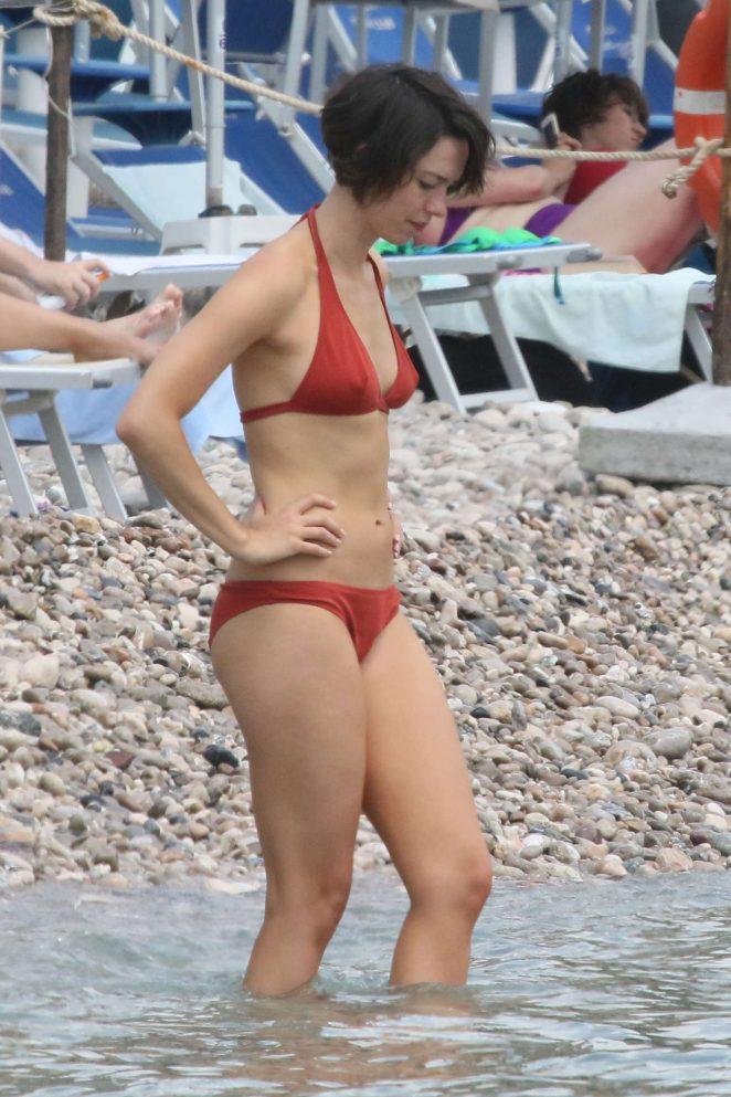 Rebecca Hall in Red Bikini in Taormina