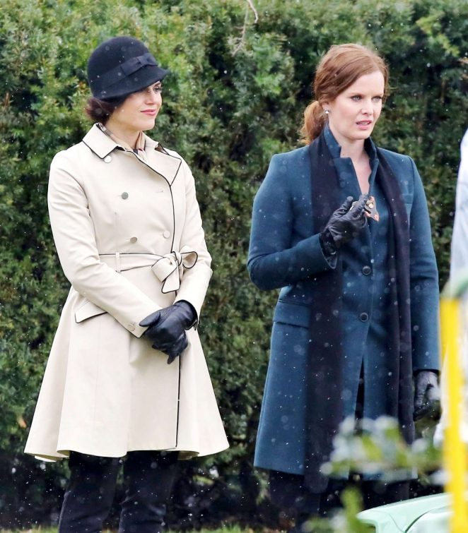 Rebecca Mader and Lana Parrilla on the set of 'Once Upon a Time' in Vancouver